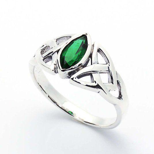 Bague celtique argent Fin 925/1000 -Emerald Oxyde de Zirconium