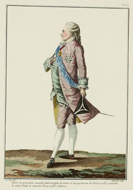 Galerie des Modes, 14e Cahier, 3e Figure Spring suit, ribbed fabric with a silver ground, the vest and the cuffs of the suit also ribbed, with the same ground but a different color for the ribbing.