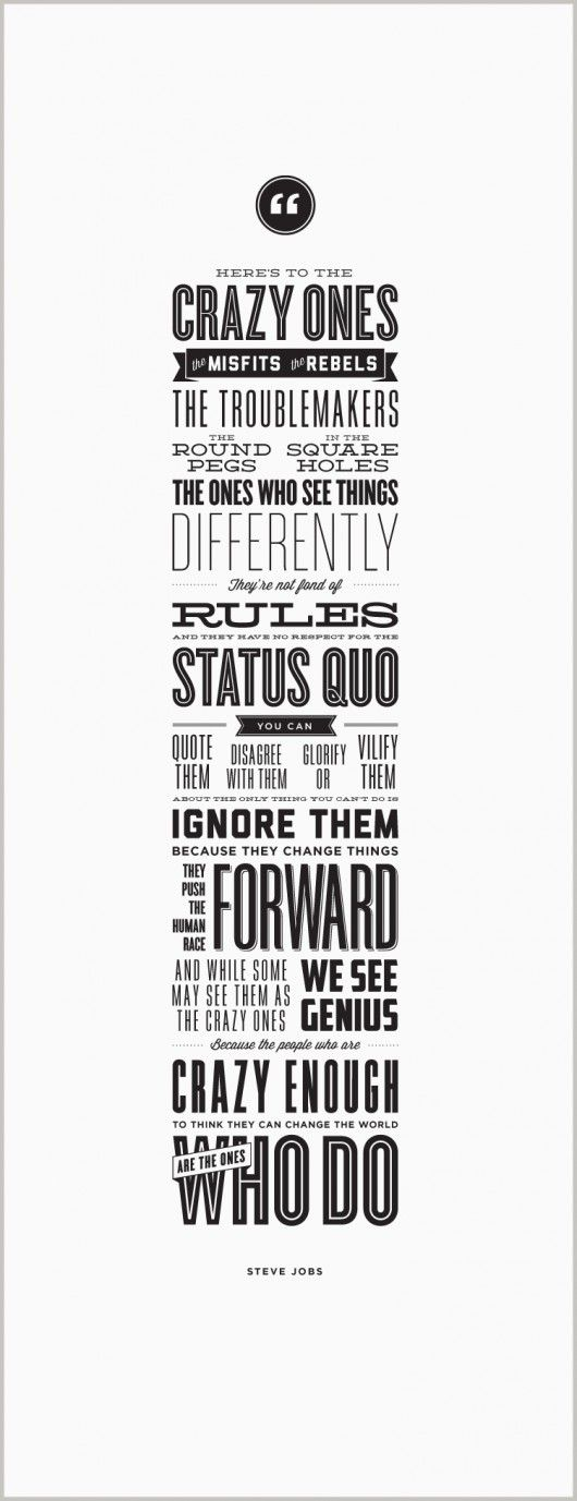 Steve Jobs' quote in beautiful font design.