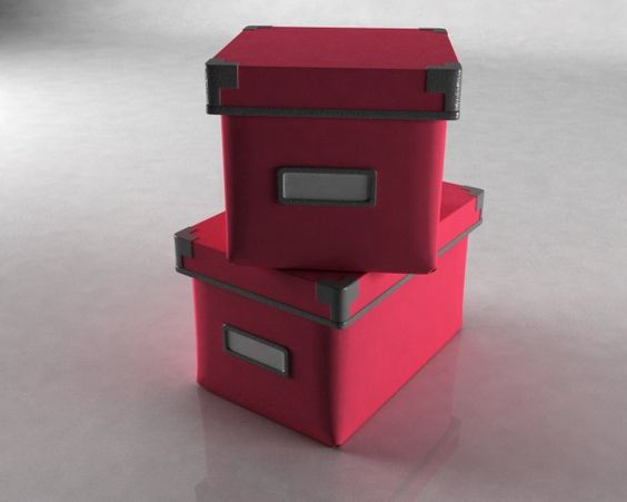 3D Model 2 Boxes c4d, obj, 3ds, fbx