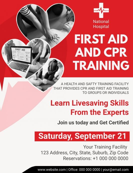 Cpr First Aid Training Center Flyer Cpr Training Healthcare Marketing Medical Services