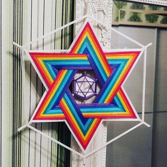 Mándala Merkaba estrella del.  La estrella de merkaba armoniza la energía masculina y femenina, como un símbolo del Yin/Yang. La estrella de David es una versión tridimensional de un merkaba y fue pintado en los escudos de los ejércitos del rey David como un símbolo de protección divina. El merkaba, de hecho, paso por fuente de energía en la física y es una invocación de la representación de como arriba, es abajo. La pirámide apuntando hacia arriba nos conecta con la energía universal…