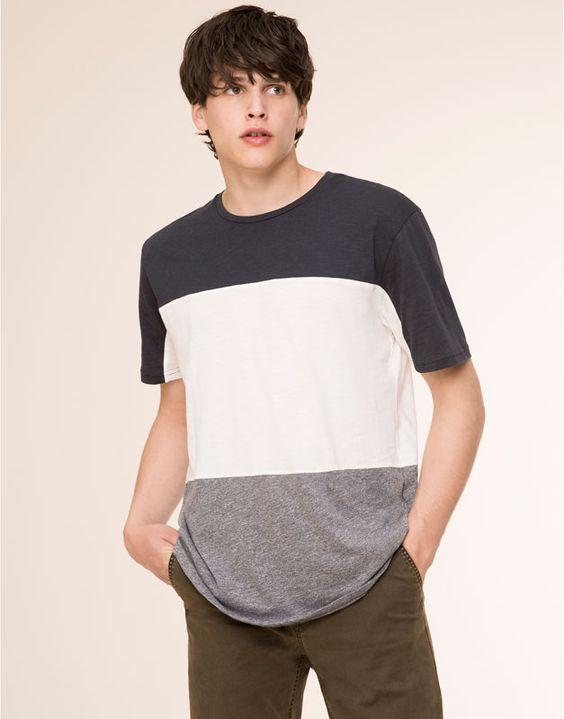 Pull&Bear - homme - t-shirts - t-shirt empiècements manches courtes - noir - 09242540-V2016