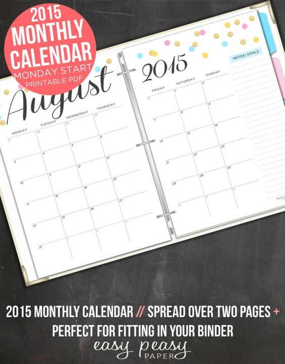 Monthly Calendar Monday Start : Page monthly calendar monday start by