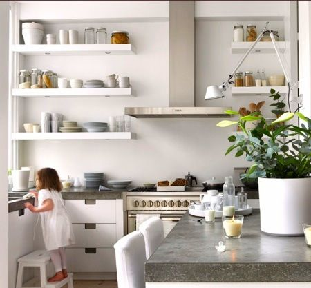 Spain contemporary open shelving small kitchen designs Love the chunky floating shelves with built in spotlights framing Kitchen Pinterest Flo?