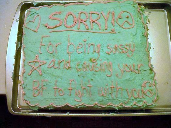 I may have accidentally caused a fight between a girl I work with and her boyfriend soo I made her an apology cake