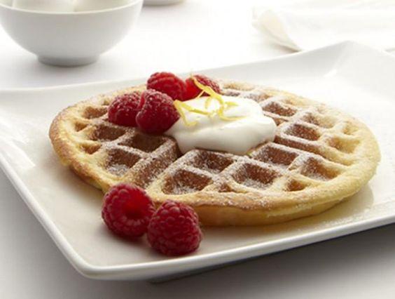 Lemony Belgian Waffles with Sweet Crème Fraiche & Raspberries. #recipe #food
