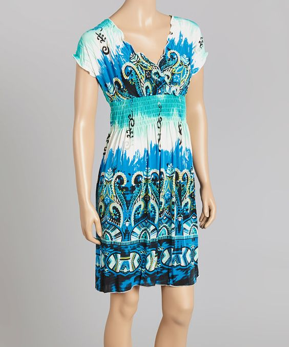 Look at this Just Funky Turquoise Empire-Waist Surplice Dress on #zulily today!