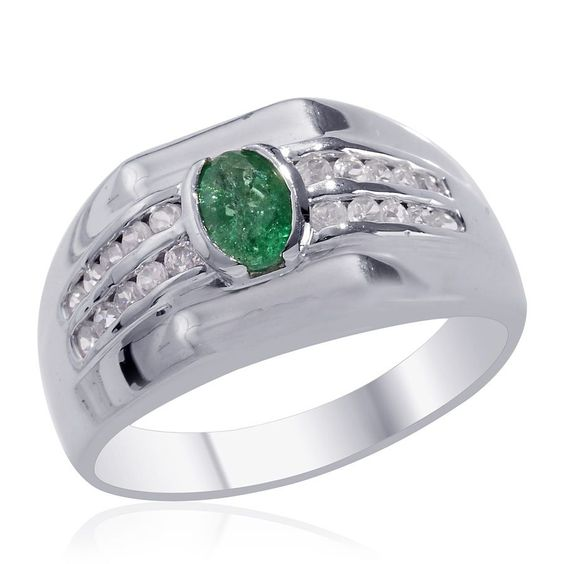 Liquidation Channel | Kagem Zambian Emerald and Cambodian Zircon Men's Ring in Platinum Overlay Sterling Silver (Nickel Free)