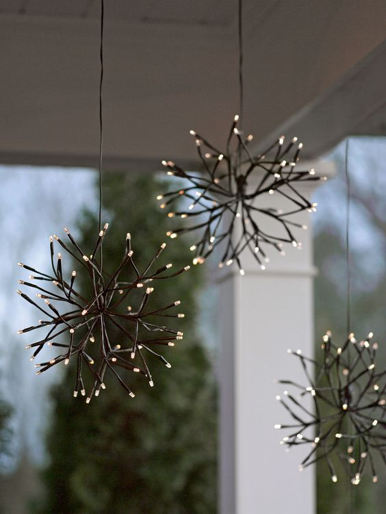 Lighted branches led winter branch starburst battery for Battery operated lights for craft booth