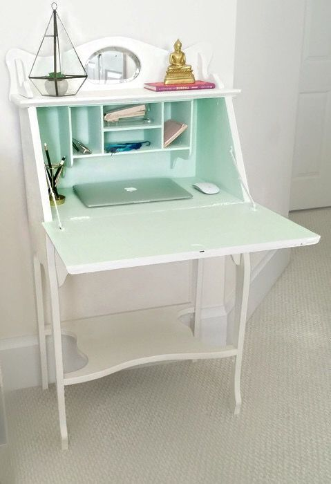 Antique Secretary Desk Chalky Painted White And Light Green Aqua Vintage Anthropologie Color Trend 2016