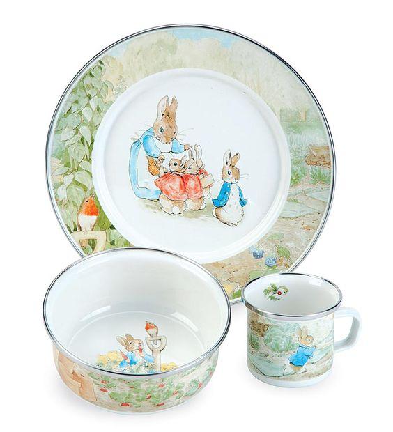 3 Piece Beatrix Potter Enamelware Dish Set