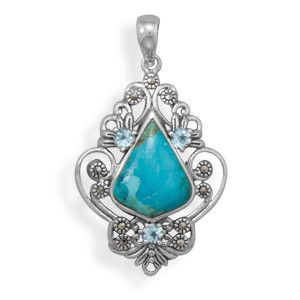 Turquoise, Blue Topaz and Marcasite Pendant - great prices on Sterling Silver!