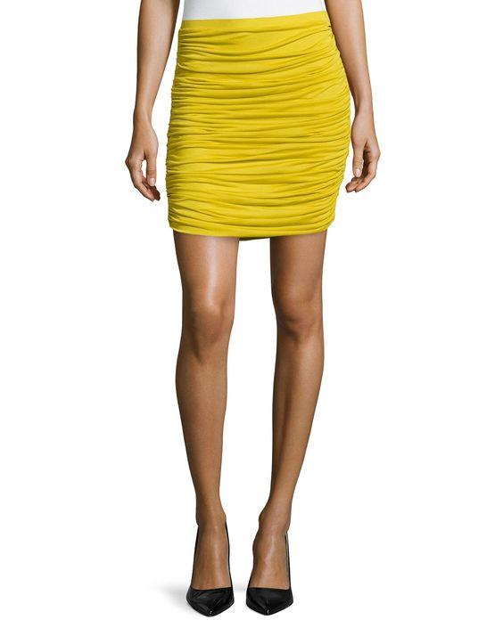 Ruched Chiffon Skirt, Chartuese