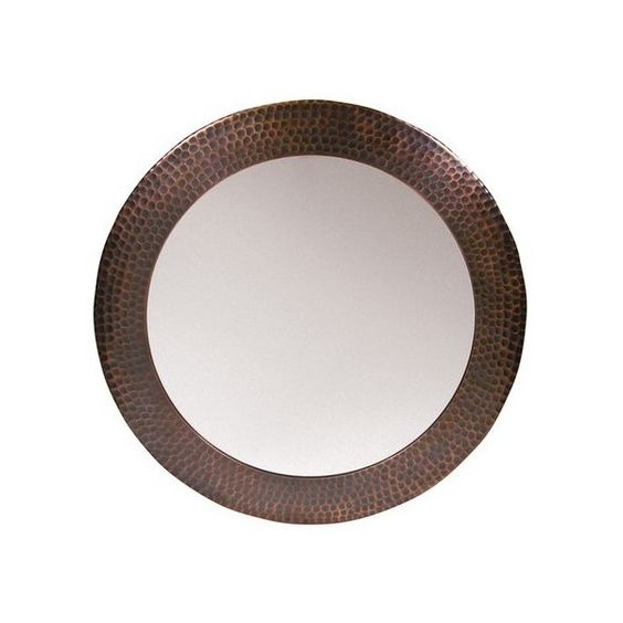 """The Copper Factory CF139 19 1/2"""" Diameter Solid Hammered Copper Framed ($240) ❤ liked on Polyvore featuring home, home decor, antique copper, mirrors, plumbing, handmade home decor and copper home decor"""