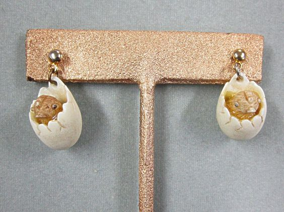 Vintage Razza Chick Hatching from Egg Earrings $25.00