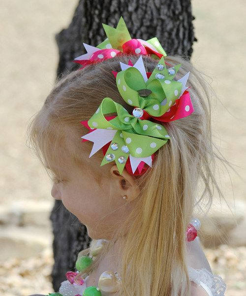 Take a look at this Hot Pink & Lime Jewel Bow Clip on zulily today!