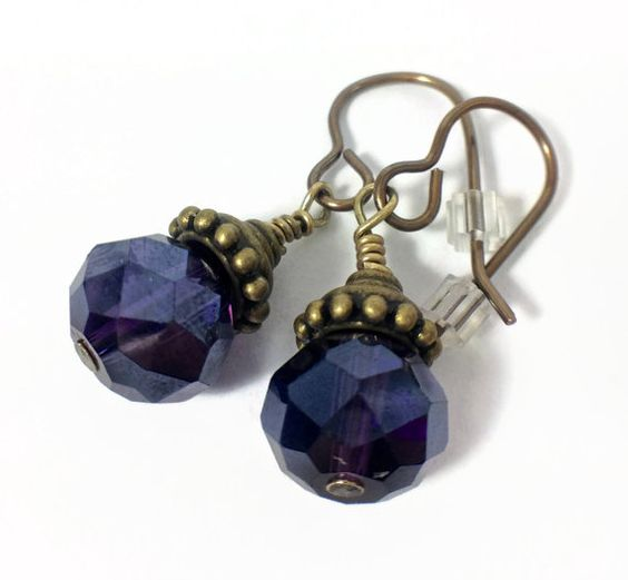 Majestic Magic Plum Swarovski Beaded Earrings.  Feel like a queen! $23.00  Find this & more at www.wiredboutique.etsy.com