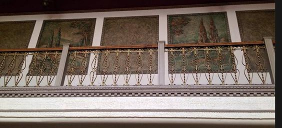 These are the frecoes on the upstairs walkway between the restrooms as you stand in the Lobby looking up. They are stunning. I wonder who painted them originally? Does anyone know?  Photograph taken by Linda Campbell Harshman on March 4, 2015