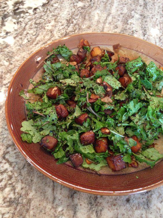 Kale butternut squash salad Kale plate 1/2 T coconut oil melt 1 cup ...