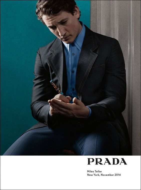 Miles Teller in Prada Spring/Summer 2015 campaign. Photographed by Craig McDean.