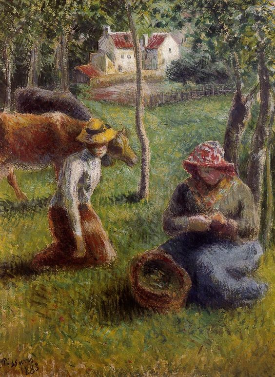 The Athenaeum - PISSARRO, Camille French Pointillist-Impressionist (ca.1830-1903)_The Cowherds - 1883