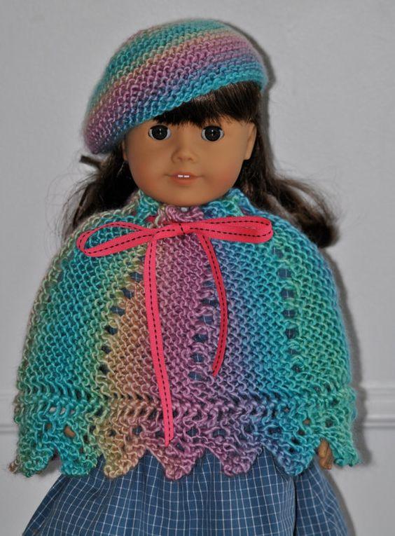 Poncho  Beret  18 Zoll Puppe  Outfit für 18 von mysticneedle