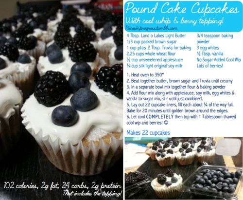 healthy cupcakes...pound cake cupcakes, raspberry and honey cupcakes ...