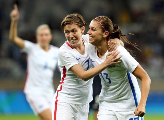 One more from Morgan: Meghan Klingenberg, left, and Alex Morgan of the United States celebrate Morgan's goal against New Zealand on Aug. 3 at Mineirao Stadium in Belo Horizonte, Brazil.
