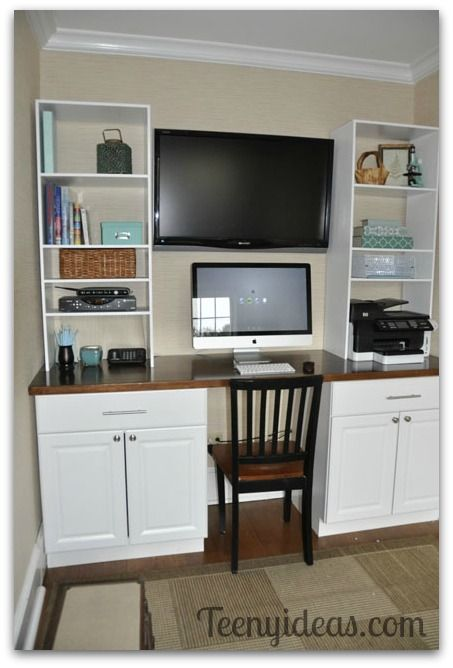 Diy office built ins using stock kitchen cabinets and for Stock cabinets