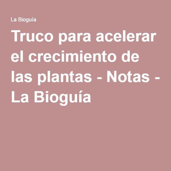 Truco para acelerar el crecimiento de las plantas - Notas - La Bioguía