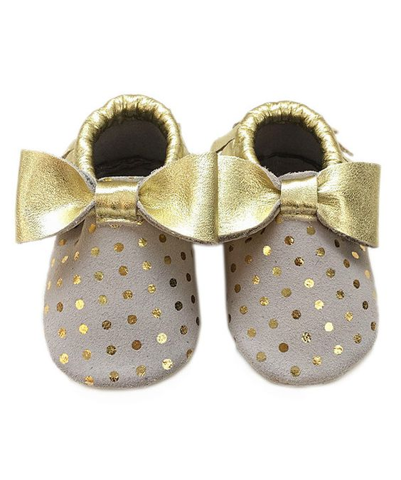 Look at this Beige & Gold Polka Dot Bow Leather Booties on #zulily today!