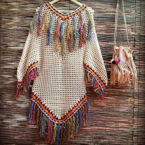 Free Crochet Pattern For Kimono : Kimono Tribal, no pattern Crochet - Inspirations ...