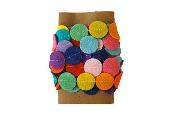 Felt Garland - Rainbow Garland - Circles of Felt - 5 Feet