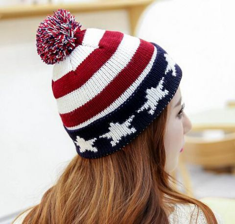 American Flag Beanie Hat For Women Stylish Knit Winter Hats Beanie Hats For Women Warm Winter Hats Winter Hats