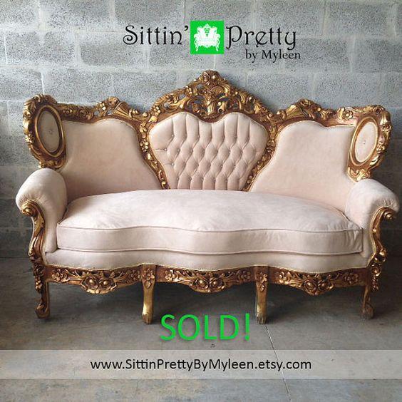 SOLD Antique Baroque Throne Chair Fauteuil by SittinPrettyByMyleen