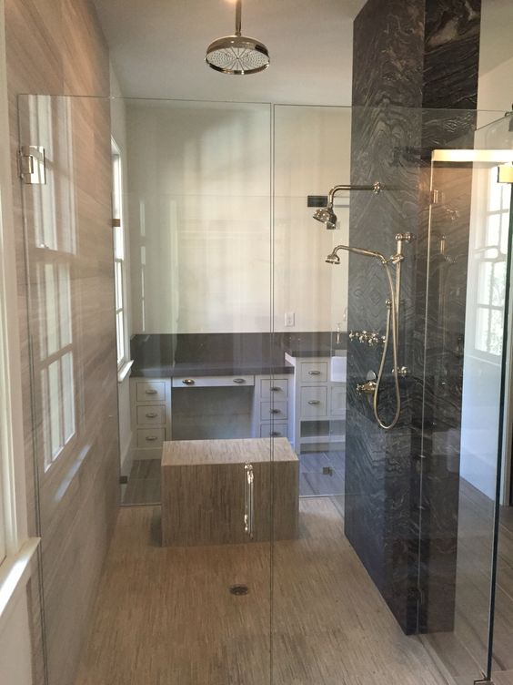 Double sided master bath. Two separate him & her sides. Shower door ...