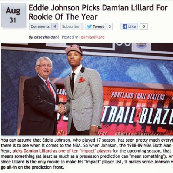 More And More Members Of The Media Are Hopping On The Lillard 4 R.O.Y. Bandwagon. Read More At Blogs.TrailBlazers.Com