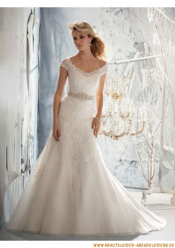 preiswert schlicht Bodenlange Brautkleid 2013