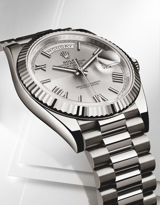 The @Rolex Day-Date 40 white gold Ref. 228239, with fully polished case, features the Twinlock screwed-down (Rolex fluted) caseback and Twinlock double-sealed crown, good for water-resistance down to 100 meters. http://www.watchtime.com/wristwatch-industry-news/technology/rolex-modernizes-the-day-date-with-a-new-size-and-caliber/ #rolex #watchtime #luxurywatch