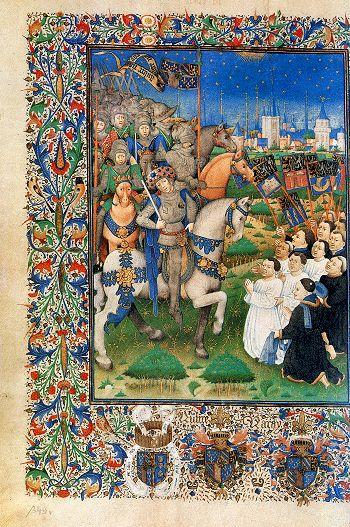 Na hun nederlaag bij Gavere in 1453 moesten de opstandige Gentenaren zich aan Filips de Goede onderwerpen. Miniatuur in de Privilegiën en Statuten van Gent en Vlaanderen, na 1453.   Wenen, Österreichische Nationalbibliothek, Cod. 2583, fol. 349v