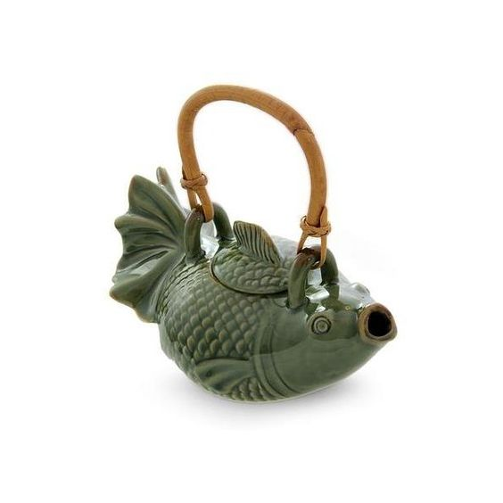 NOVICA Hand Crafted Ceramic Fish Teapot (¥7,770) ❤ liked on Polyvore featuring home, kitchen & dining, teapots, coffee & tea service, green, homedecor, serveware, tableware & entertaining, handmade ceramic teapot and ceramic tea pot