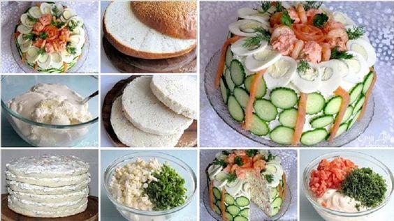 -2 à 3 miches de pain blanc -600 grammes de fromage cottage -400 grammes de crème sure -3 à 4 C. à soupe de mayonnaise -4 oeufs durs -250-300 grammes de saumon fumé (on suggère le saumon kéta, rose) -1 paquet d'oignons verts -1 bouquet d'aneth  POUR DÉCORER LE GÂTEAU VOUS AUREZ BESOIN DE:  -Grandes crevettes bouillies -Tranches de saumon fumé ou salé -4 à 5 oeufs durs -Oeuf de morue ou de hareng -1 à 2 concombres -Aneth, persil