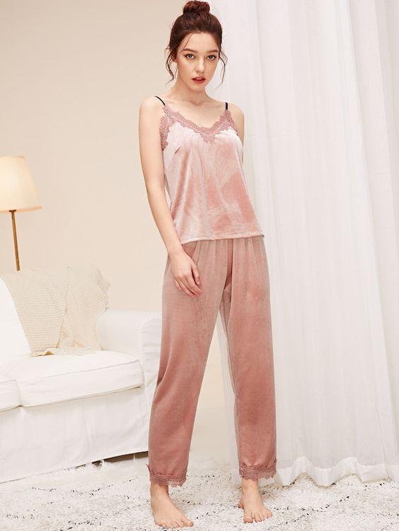 Lace Trim Velvet Cami Top & Pants PJ Set | SHEIN