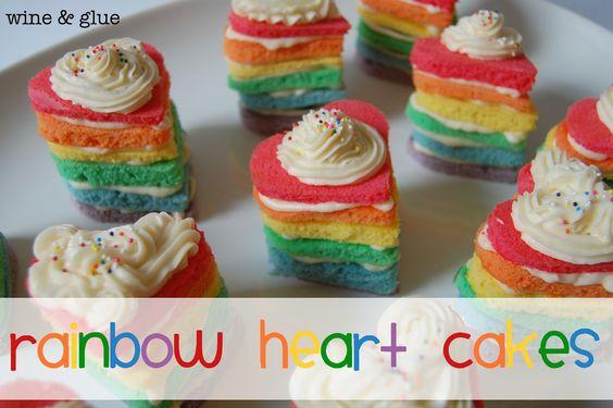 Wine and Glue: Rainbow Heart Cakes & Rainbow Trifle Cups