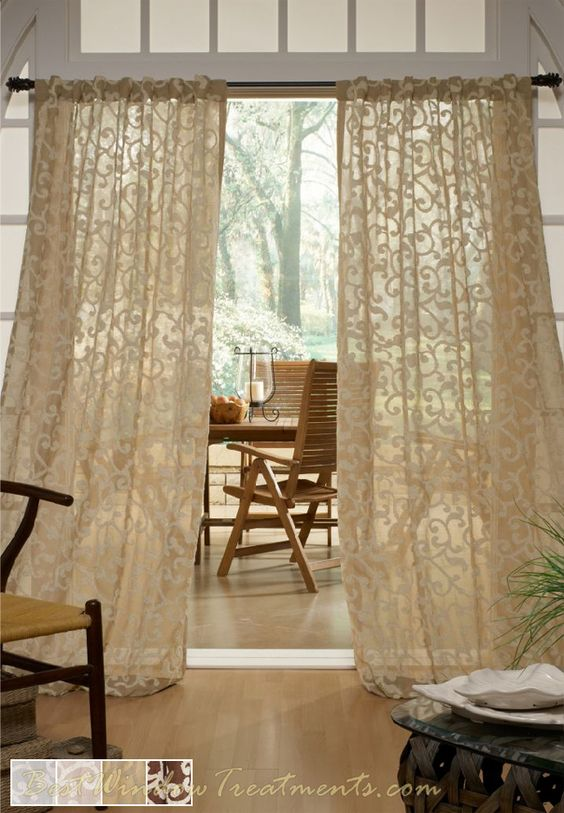 Strathcona linen blend semi sheer curtain panel in natural for Window scroll