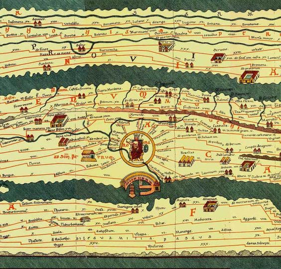 The Tabula Peutingeriana detail with Rome This Roman map of the – Map of the World in Detail