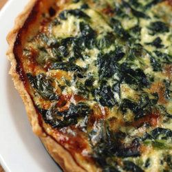 Spinach, bacon, and blue cheese quiche!
