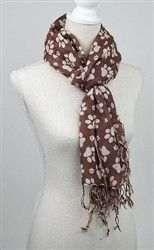 Printed Paws - Rayon Scarf - Brown/Ivory