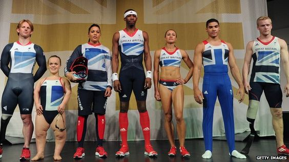 Team GB kit designed by Stella McCartney. There has been such a fuss about it but I don't see anything wrong with it. Storm in a teacup by the media.